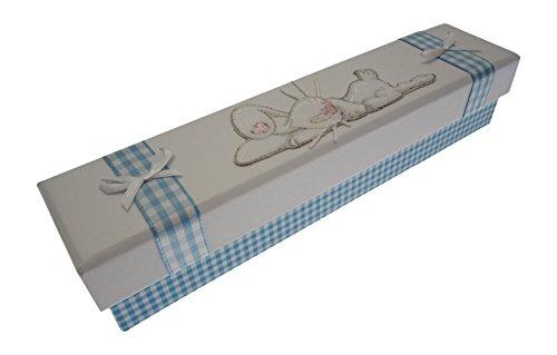 Blanc Coton Cartes d'acte de naissance Lapin de couchage (Bleu)