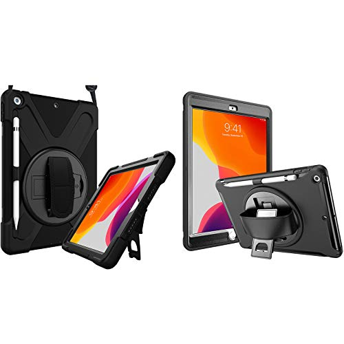 ProCase iPad 10.2 Case 2020 iPad 8th Generation Case / 2019 iPad 7th Generation Case Bundle with Rugged Heavy Duty Shockproof Cover Case with Handle and Rotating Kickstand for 10.2