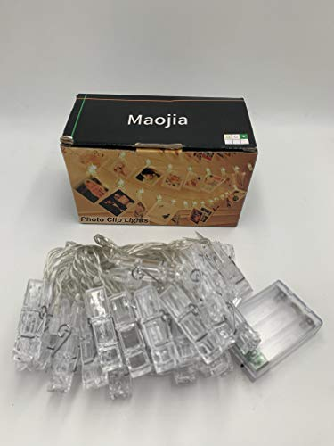 Maojia 20 Photo Clips String Lights/Holder, Indoor Fairy String Lights for Hanging Photos Pictures, Christmas Cards, Photo Clip Holder for Bedroom Christmas Decoration
