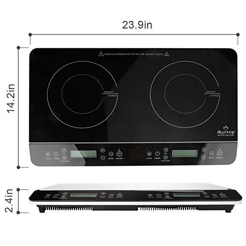 Duxtop LCD Portable Double Induction Cooktop 1800W Digital Electric Countertop Burner Sensor Touch Stove, 9620LS/BT-350DZ