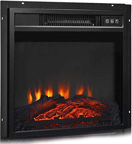 """18"""" Electric Fireplace Heater, Freestanding & Recessed 1400 W Electric Stove Heater w/Adjustable LED Flame, Fireplace Insert /Remote Control, Safer Plug"""