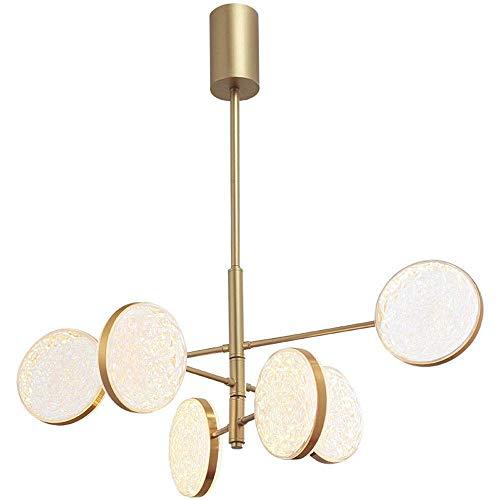 Candelabros LED dorados de 6 luces, lámpara colgante de techo de acrílico nórdico, lámpara colgante redonda de metal, Art Deco para sala de estar y dormitorio [Clase energética A +]