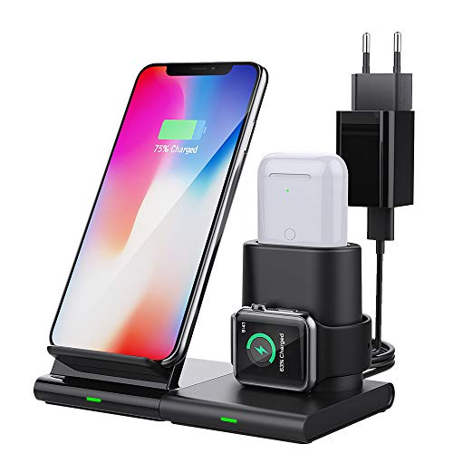 MoKo Cargador Inalámbrico Wireless Charger Compatible con iPhone y Apple Watch, 3 en 1 Base de Carga +Adapdator Rápida para iWatch Series SE/6/5/4/3/AirPods Pro, iPhone 12/12 Pro/12 Mini/11/XR/SE 2020