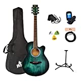 Winzz 40 Pulgadas Guitarra Acústica con Cuerdas de Acero para Principiantes Adultos y Estudiantes, Elegante Diseño de Color Único (Azul-Verde)