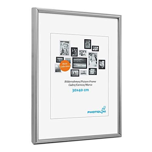 PHOTOLINI Bilderrahmen 30x40 cm Modern Silber Kunststoff-Rahmen Poster-Rahmen Schmal mit Glasscheibe
