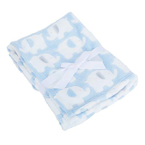 Baby Elephant Luxury Pram Blanket -Boy/Girl Options (75cm x 100cm) (Blue)