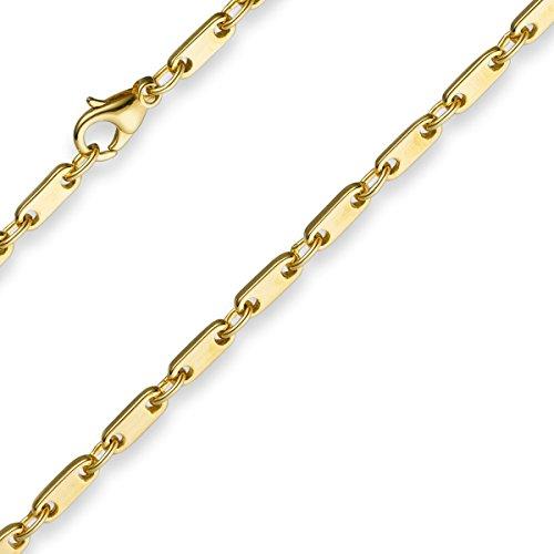 3mm Armband Armkette Plattenkette aus 585 Gold Gelbgold 19cm Unisex