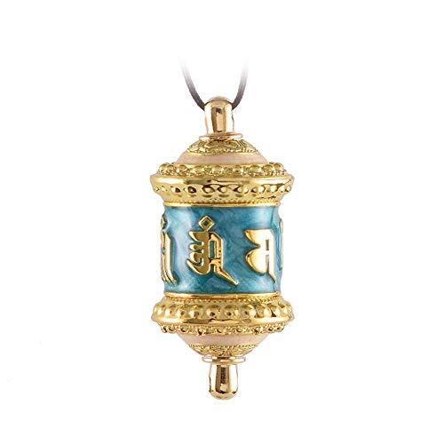LOOPIG Colar pingente de Buda lindo pingente tibetano Gilt Mini urna Amuleto Mantra