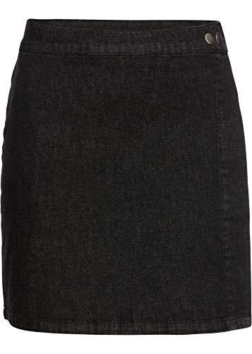 bonprix Kombistarker Jeans-Minirock mit Wickeleffekt Black Denim 48 für Damen