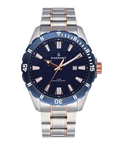 Reloj analógico para Hombre de Radiant. Colección Tagrad. Reloj Bicolor Plata y rosé con Brazalete y con Bisel y Esfera Azules. 10ATM. 44mm. Referencia RA480205.