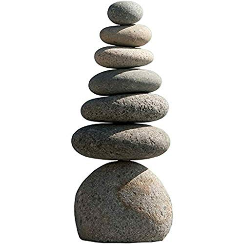 Garden Age Supply Natural River Stone Rock Cairn Sculpture Stacked Stone Balanced Rock Zen Stones Meditation (Septuple)
