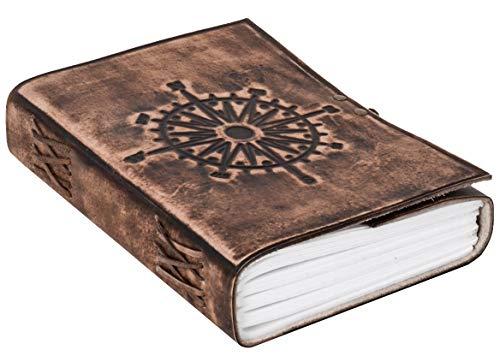 Gusti Buch Leder - Sola Notizbuch Tagebuch Reisetagebuch DIN A5 Braun Leder