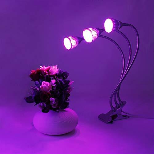 Pantalla de calefacción por Mascotas Planta del LED Crece la luz de Tres Cabeza 15W Crece la lámpara de Clip de 360 Grados con Cuello de Cisne Flexible y Tres interruptores de Control Independiente