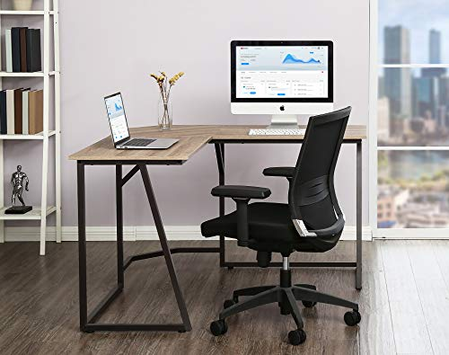 FITUEYES L-Shaped Escritorio esquinero Mesa Ordenador para Oficina u Hoagar Color Oak L125xW125cm LCD112506WO