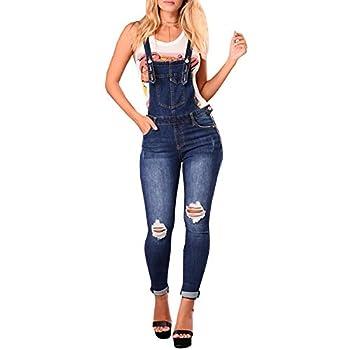 LONGBIDA Skinny Ripped Jeans Denim Jumpsuit Overalls For Women Dark Blue,XL