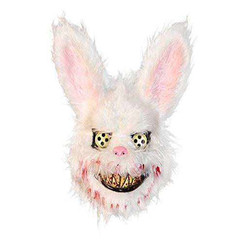 XWYWP Mscara de Halloween Malvado Conejo Sangriento Mscara de Oso de Felpa Mascarilla de Halloween Mscaras de Horror Fiesta Cosplay Mscara de Pascua Props Mscara Blanco