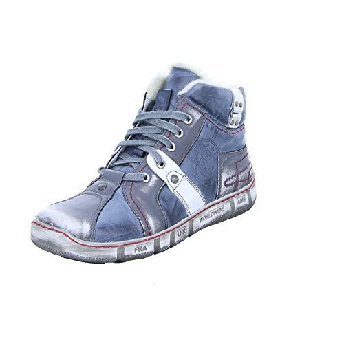 Kacper 3-4720 Herren Schnürer Sneaker High-Top Stiefel Reißverschluss Blau (dunkelblau/gra/Weiss)