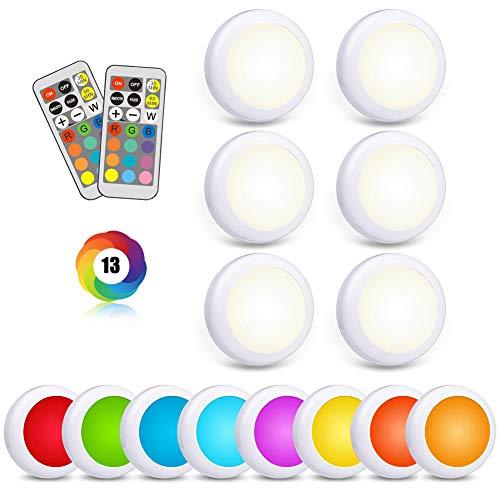 LED RGB Schrankbeleuchtung Spot Batterie 6er Spots Lampe Batteriebetrieben Vitrinenbeleuchtung LED Licht mit 2 Fernbedienung Schrankleuchte Dimmbar Unterbauleuchte Küche Farbwechsel Nachtlicht