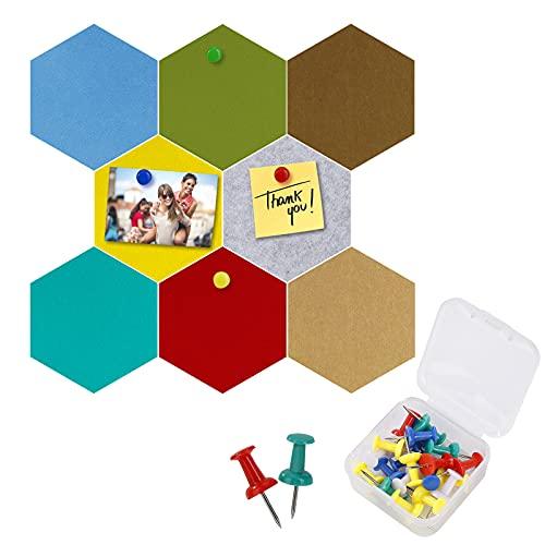 Tablones de Corcho, Fieltro Hexagonal Corcho Pared Autoadhesivo Tablero de Notas con 20 Pasadores de Empuje para Colgar Fotos, Casa, Oficina, Decoración de Paredes 8 Piezas 17.5 x 15.2 cm