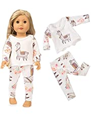 Doll Gauze kjol Doll Pyjamas Suit Dress Mini Doll Casual Outfit Cute Cartoon Mönster till 18 Inch docka rosa vit 2st Praktiska dagliga nödvändigheter
