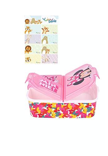Minnie Mouse Kinder Premium Brotdose Lunchbox Frühstücks-Box Vesper-Dose mit 3 Fächern mit Yuhu Bande Namens-Aufkleber Sticker