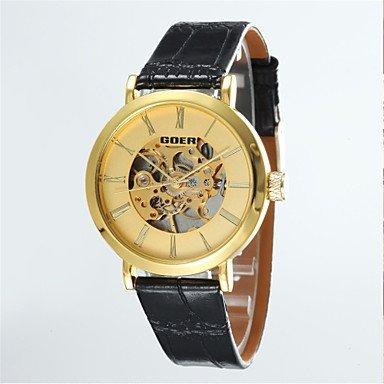 FENKOO Männersache runde Zifferblatt Lederband Maschine analogen Halbautomatik-Armbanduhr (Farbe Sortiert)