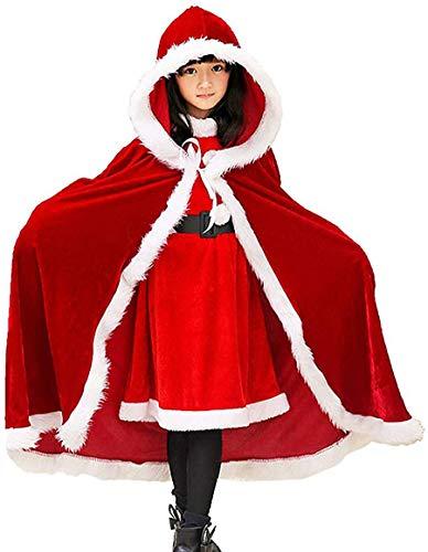 MTOML Niños Navidad Capa, Capa de Terciopelo con Capucha, Christmas Cosplay Encapuchado Abrigos para Niño y Niña (Rojo)