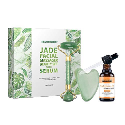 NEUTRIHERBS Natural Jade Roller for Face, Facial Roller & Gua Sha+ Vitamin C Serum?3 in 1 Kit ?Face Massager Tools Beauty Gift Set. (Green)