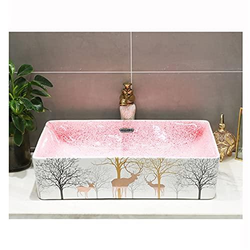 AZYJ Lavabo sobre Encimera Cerámica Negra,Fregadero Piedra Cocina Baño Simplicidad Retro,Lavabo Piedra Lavabo Sanitario Bano Rectángulo Baño WC(Size:60 * 37 * 15CM,Color:rectángulo)