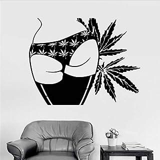 DongOJO Adhesivos de Pared de Vinilo Chica Culo Marihuana Weed Wall Sticker 56x66cm