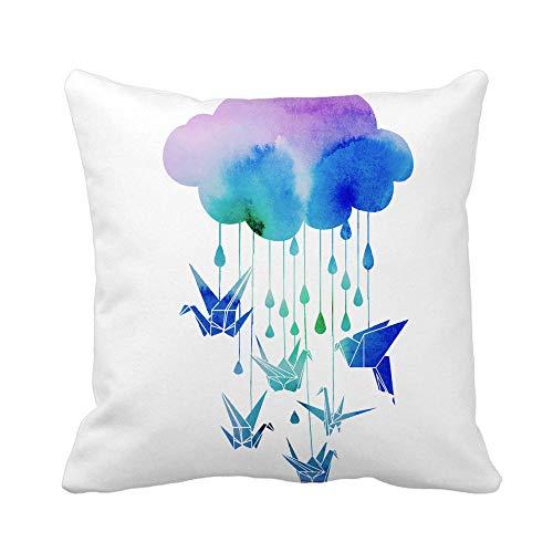 Throw Pillowcase,Pillow Covers Throw PCover Watercolor Origami Crane Bird Animal Asia Asian Black Craft Pillowcase Homeative PCase Cushion Cover 45Cm X 45Cm