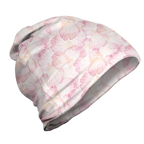ABAKUHAUS Pastell Unisex Beanie, Blassrosa Blütenblätter, Wandern im Freien, Pale Pink Weiß