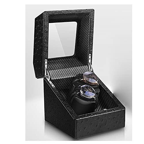 LYLSXY Cajas Giratorias para Relojes Relojes Automaticos Caja De Relojes Mecánicos,Vitrina De Movimiento para 2 Relojes (Color : Black Ostrich)