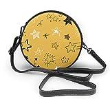 Varias estrellas Doodle Collection Vector - Bolso de mano para mujer, piel sintética, con cremallera, redondo, para trabajo, viajes, citas