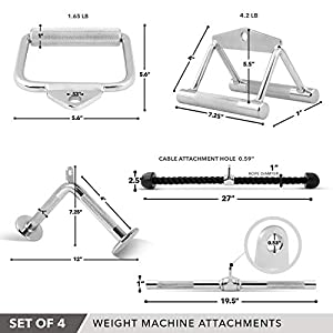 Day 1 Fitness Combo 4 PC Attachment Set - Tricep Rope, Single D-Handle, V-Shaped Bar & Rotating Straight Bar Attachments for Cable Exercise Machine