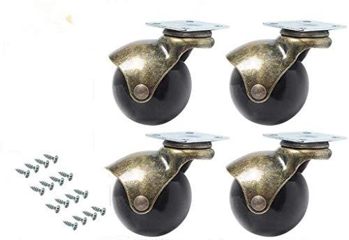 Manfâ 4 Stücke Ball Caster Rad 360 Grad Drehwirbel Platten Metall Mit Kapuze Kugelförmige Bremse Schwere für Schreibtisch Stuhl Couchtisch Spielzeug Schuhe bins (2 zoll (50mm))