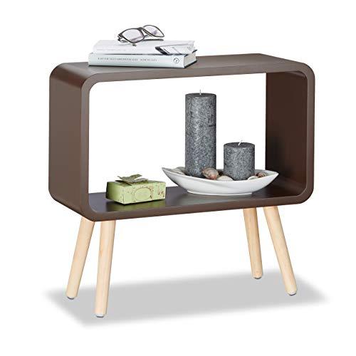 Relaxdays 1 x Standregal klein, Nachttisch ohne Schublade, MDF Holzregal für das Kinderzimmer, HxBxT: 50 x 53 x 20 cm, braun