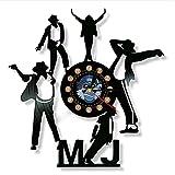 TeenieArt Reloj De Vinilo De Michael Jackson, Reloj De Pared De Michael Jackson De 12', Decoración Original Artística, Las Mejores Decoraciones para El Hogar con Led