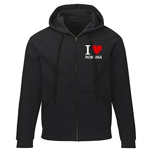 Multifanshop Kapuzen Sweatshirt Jacke Classic I Love Romania - schwarz - Größe S bis 2XL, Größe:XXL