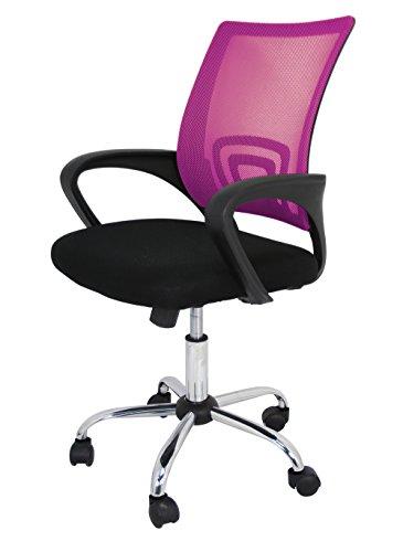 Die spanische Stuhl Ribadeo Bürostuhl ohne Kopfstütze, Polyester, Pink, 61x 58x 89cm