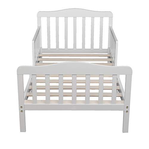 JINDAO-URG Wooden Baby Toddler Bed Children Bedroom Furniture with Safety Guardrails White URG