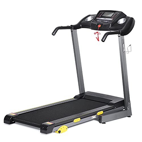 17'' Wide Folding Treadmill-Electric Motorized Running Machine with 3 Incline & LCD Display Cup Holder 10 Min Assembly, 15 Preset Programs for Home Use