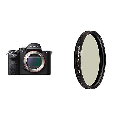 Sony Alpha 7RM2 E-Mount Vollformat Digitalkamera ILCE-7RM2 (42,4 Megapixel, 7,6cm (3 Zoll) TFT-Display, 5-Achsen-Bildstabilisierung) schwarz & AmazonBasics Zirkularer Polarisationsfilter - 67mm