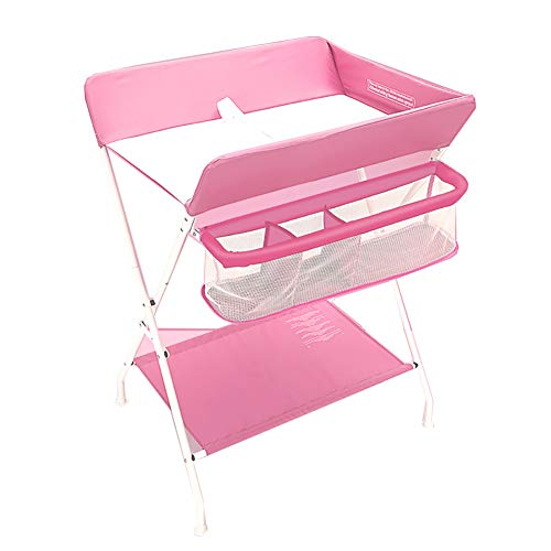 Tables à langer pour Bébé Station De Table pour Couche-Culotte pour Bébé Unité Portable Santé Soins du Bébé avec Boîte De Rangement (Couleur : Pink)