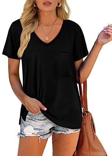 Summer Tops for Women Short Sleeve Casual Basic V NeckT Shirts Black XXL