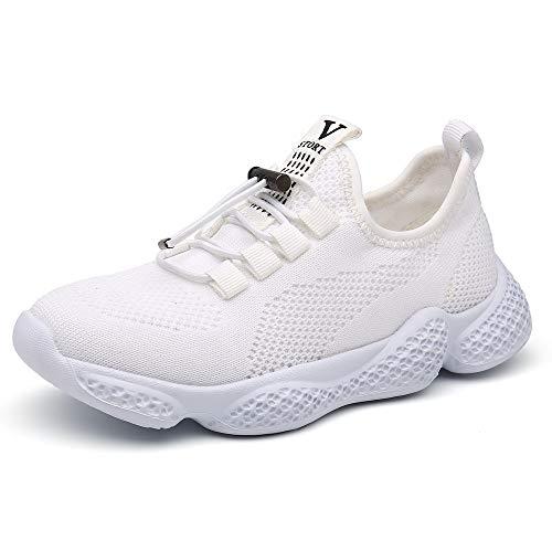 Pamray - Zapatillas deportivas para niños y niñas, Blanco, 20 MX Niño pequeño
