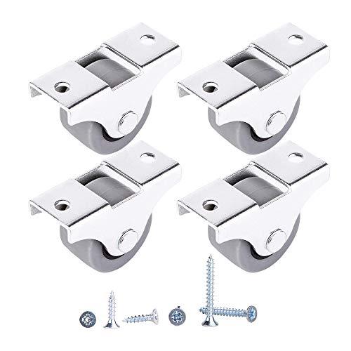 (Confezione da 4) Movimento morbido da 25 mm Ruota in gomma e plastica con piastra metallica Dispositivo per mobili unidirezionale (4)