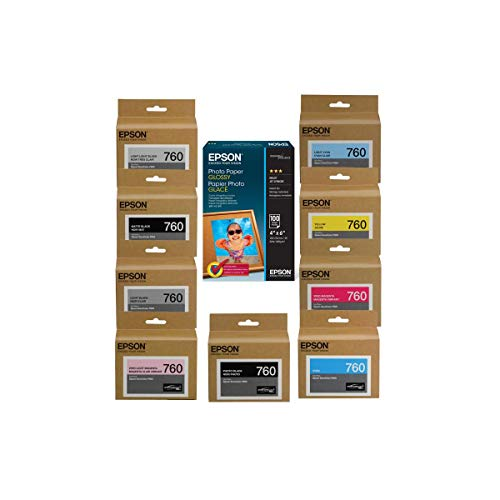 """Epson T760 Ultrachrome HD Ink Cartridge Complete Set SureColor P600 Inkjet Printer, 25.9ml Capacity, INKS Consists of HD Photo Black, HD Cyan, HD Vivid Magenta, HD Yellow , HD Light Cyan, HD Vivid Light Magenta, HD Lighy Black, HD Matte Black, Light-Light Black, Epson Glossy Paper, 4x6"""", Micro Perforated"""
