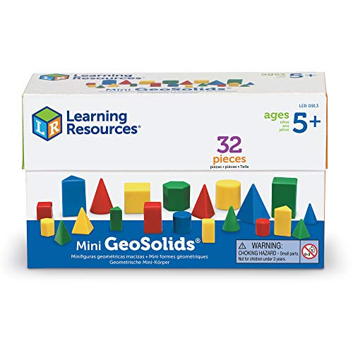 Learning Resources Mini GeoSolids, Homeschool, Colorful Plastic Geometric Shapes, Teacher Accessories, 32 Pieces, Grades K+, Ages 5+
