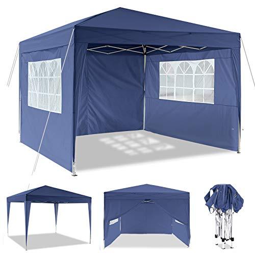 Pavillon 3mx6m, Wasserdicht Faltbare Pavillon Zelt Faltpavillon Festzelt mit 4 Seitenteilen für Garten/Party/Hochzeit/Picknick/Markt (Blau 3x3m)